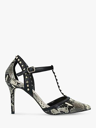 Carvela Kankan Snake Print Studded T-Bar Court Shoes, Neutral/Multi