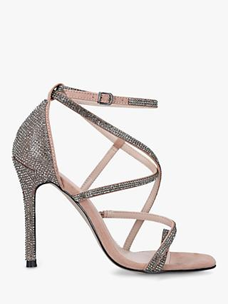 Carvela Ginger Embellished Stiletto Heel Sandals, Brown Camel