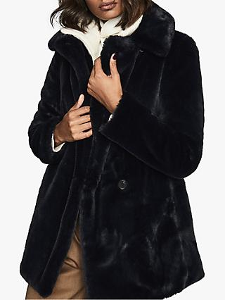 Reiss Lexington Faux Fur Coat