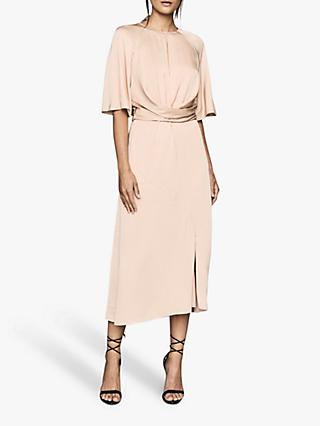 Reiss Arlo Half Sleeve Midi Dress, Light Pink
