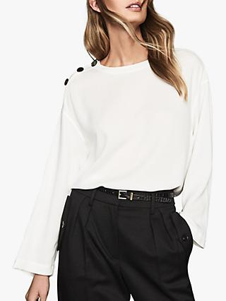 Reiss Casper Button Detail Long Sleeve Top