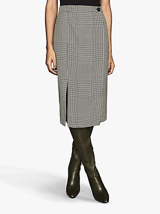 Reiss Tyler Check Pencil Skirt, Black/White