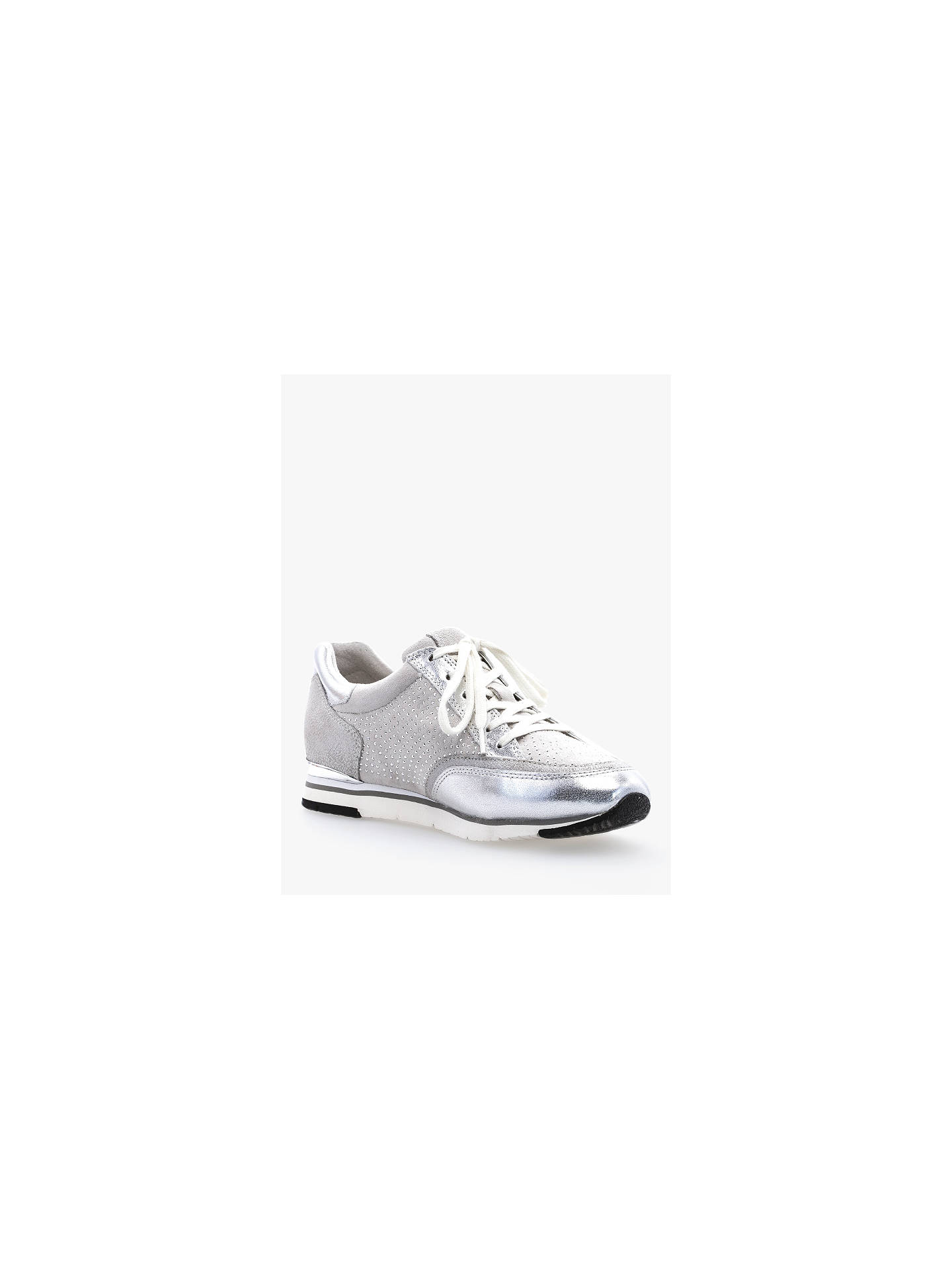 Buy Gabor Kelsey Leather Trainers, Ice/Silver, 5 Online at johnlewis.com