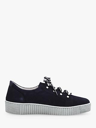 Gabor Waffle Suede Low Top Trainers, Bluette/Night