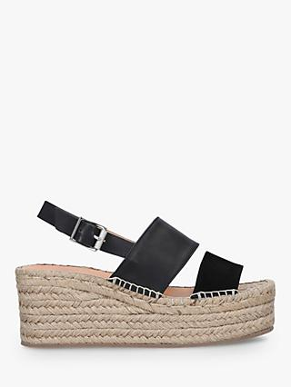 rag & bone Edie Leather Wedge Espadrilles, Black