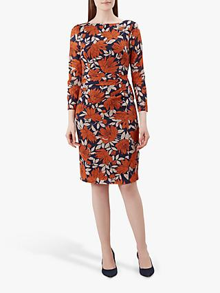 Hobbs Sacha Dress, Navy/Orange
