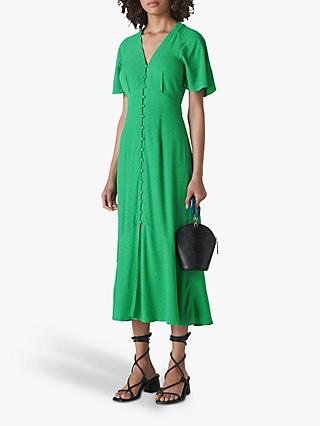 Whistles Micro Spot Button Dress, Green