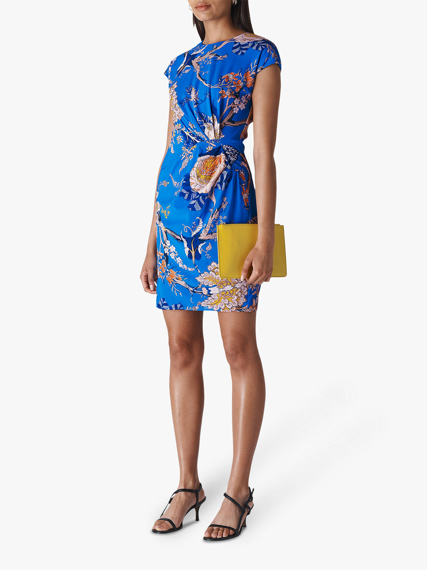 0edd0ad1ee Whistles Exotic Floral Silk Mix Bodycon Dress, Blue/Multi