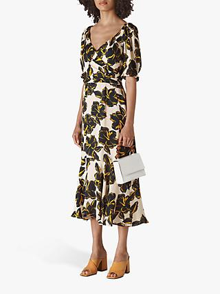Whistles Ebba Tropical Flower Wrap Dress, White/Multi