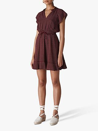 Whistles Jazmin Spot Dress, Burgundy