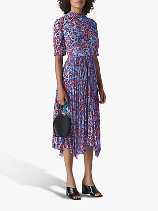 Whistles Jungle Print Pleat Dress, Blue/Multi