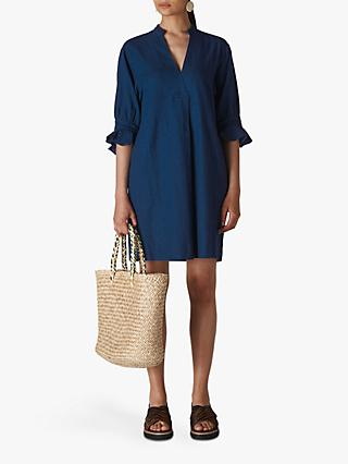 Whistles Sonia Frill Cuff Dress, Blue