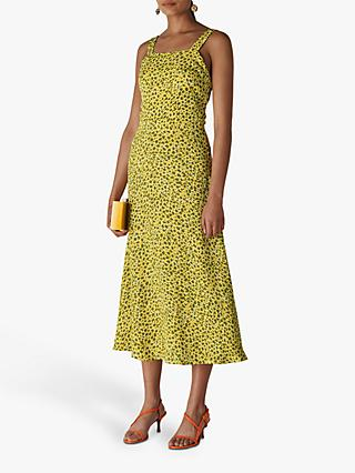 Whistles Llora Clouded Leopard Print Dress, Yellow/Multi