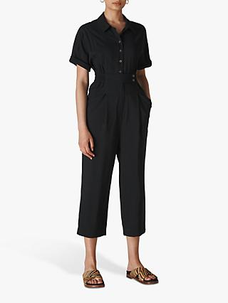 Whistles Lida Button Jumpsuit, Black