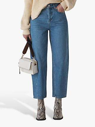 Whistles Mid Wash High Waist Barrel Jeans, Denim Blue