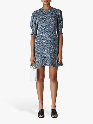 Whistles Josefina Etched Floral Dress, Navy/Multi