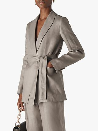 Whistles Lea Linen Belted Jacket, Grey