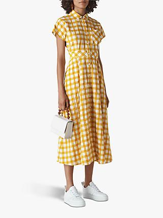 Whistles Ilana Check Shirt Dress, Yellow/Multi