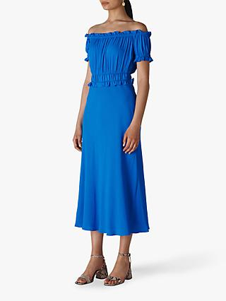 Whistles Floren Shirred Bardot Midi Dress, Cobalt