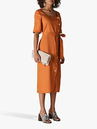 Whistles Ambika Linen Dress, Rust