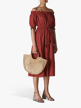 Whistles Shirred Waist Dress, Burgundy