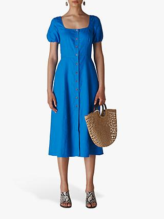 Whistles Remi Linen Dress, Blue