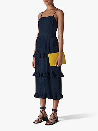 Whistles Animal Jacquard Pleated Dress, Navy