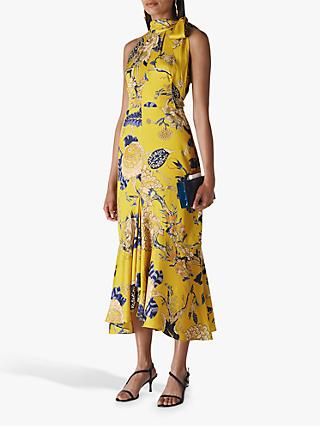 Whistles Peria Exotic Floral Dress, Yellow/Multi