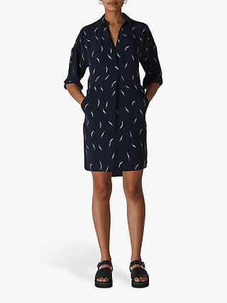 Buy Whistles Brushstroke Dress, Navy/Multi, XS Online at johnlewis.com