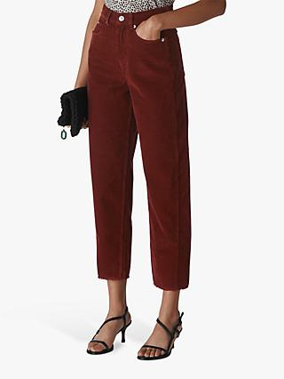 Whistles High Waist Corduroy Trousers, Rust