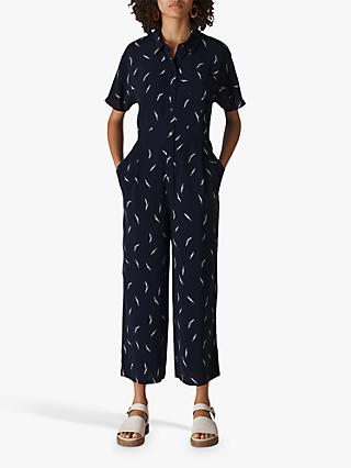 Whistles Brushstroke Print Shirt Jumpsuit, Navy