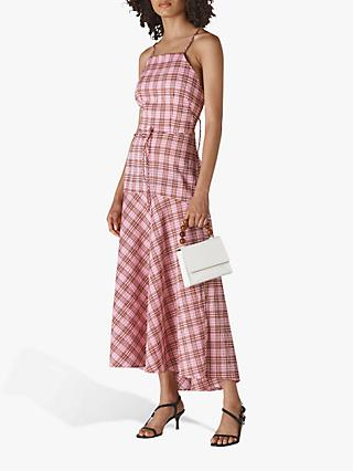 Whistles Julietta Check Maxi Dress, Pink/Multi