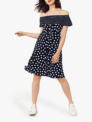 Oasis Bardot Spot Dress, Blue/Multi