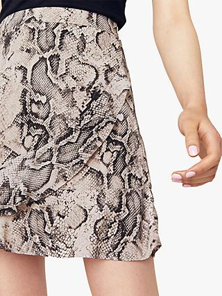Oasis Snake Print Frill Mini Skirt, Multi