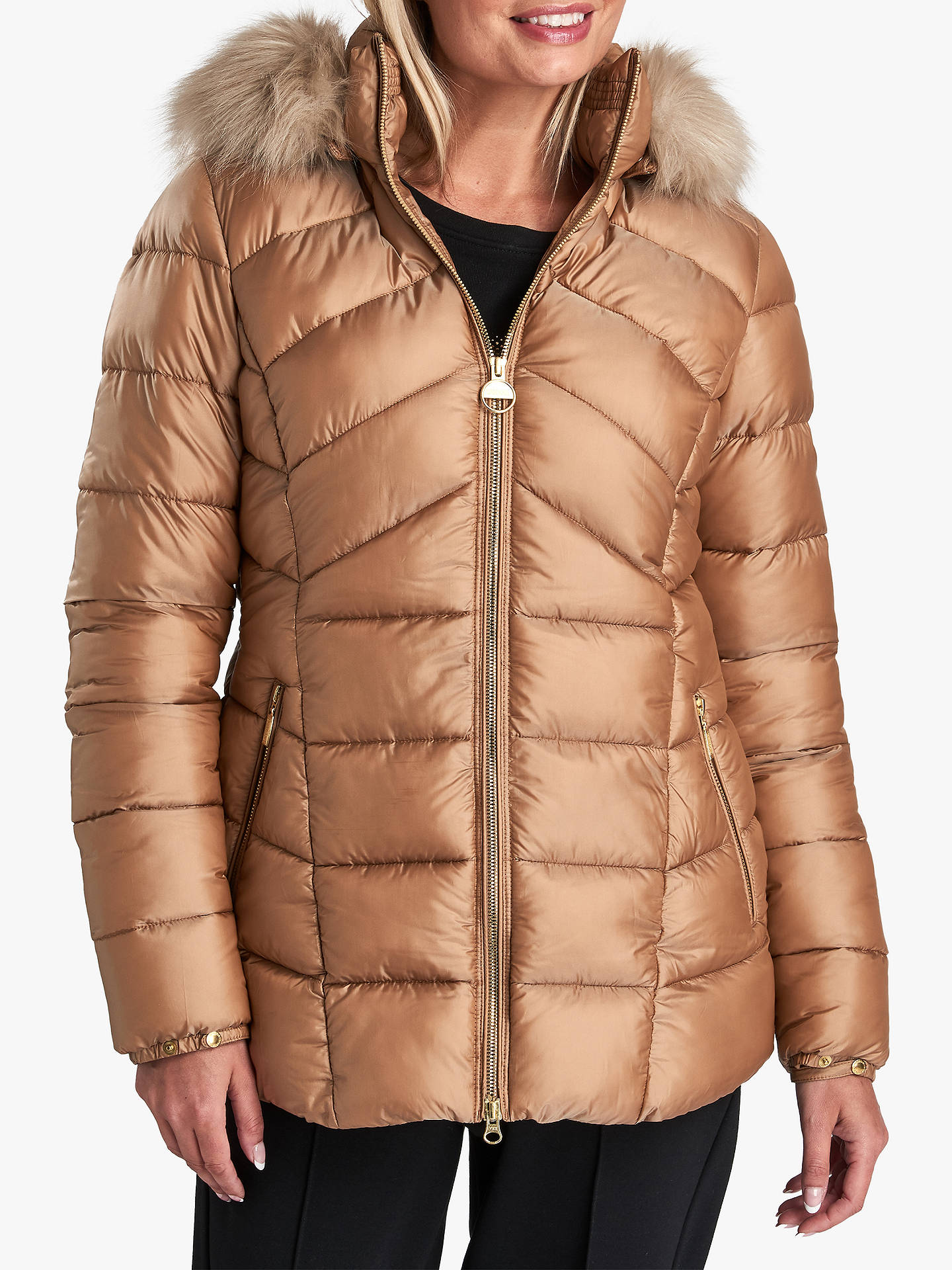 8529e3998 Barbour International Hampton Quilted Hooded Jacket, Gold