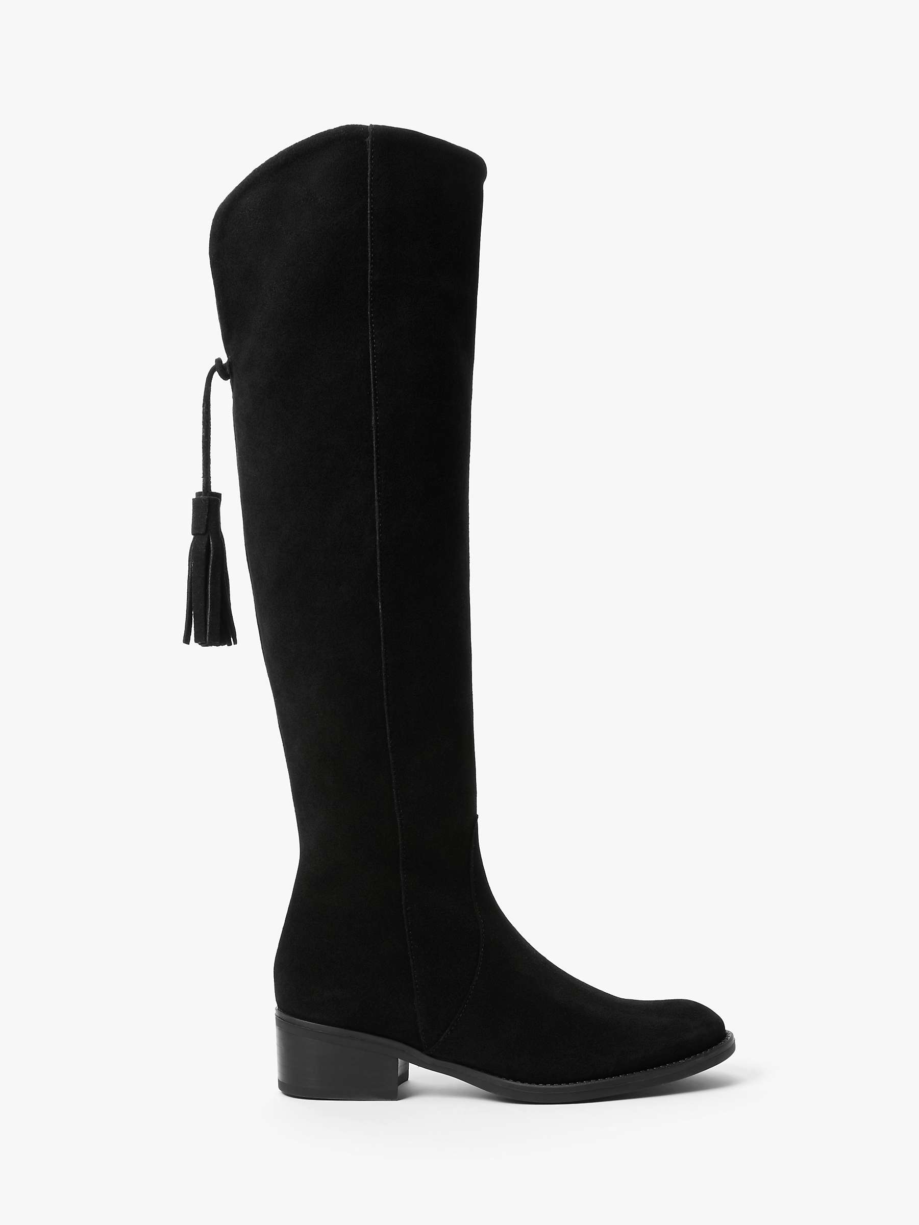 John Lewis & Partners Selina Suede Over The Knee Boots. Black by John Lewis