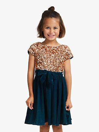 John Lewis & Partners Girls' Sequin Velour Dress, Teal/Gold