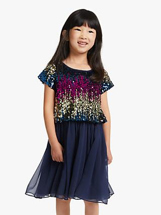 John Lewis & Partners Girls' Sequin Chiffon Dress, Navy