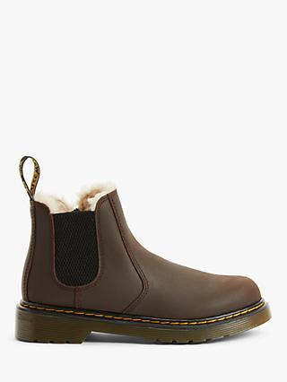 Dr Martens Children's Leonore Pull On Boots, Dark Brown Leather