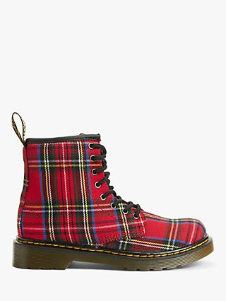Dr Martens Children's 1460 Lace Up Boots, Red Tartan