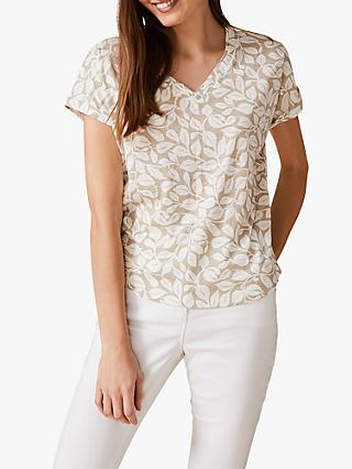 Phase Eight Hasina Leaf T-Shirt, Neutral