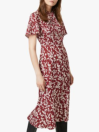 French Connection Bruna Dress, Rhubarb/Cream