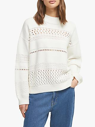 French Connection Trista Mozart Knits High Neck Jumper, Winter White
