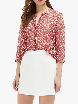 ae1d3fc5e19a52 French Connection Bruna Floral Print Shirt, Rhubarb/Classic Cream