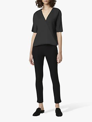 French Connection Alessia Satin Wrap Top, Black