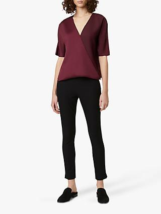 French Connection Alessia V-Neck Wrap Top, Berry Blush
