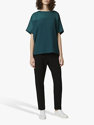 French Connection Tanja Satin Blend Top, Dark Bayou Green