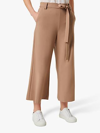 French Connection Whisper Ruth Cropped Flare Trousers, Mocha Mousse