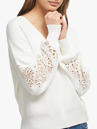 French Connection Severine Lace Sleeve Jumper, Winter White