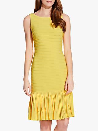 Adrianna Papell Flounce Hem Pintucked Dress, Yellow